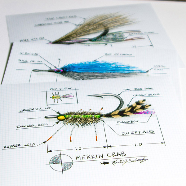 Fly Tying Art - Grand Slam Technical Fly Drawings
